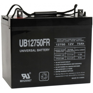 UPG Flame Retardant Sealed Lead Acid AGM: UB12750FR, 75 AH, 12V, I4