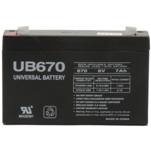 UPG Sealed Lead Acid AGM: UB670, 7 AH, 6V